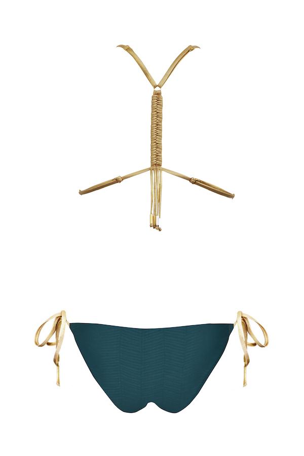 dos du maillot de bain claudia massai avec doc nageur macramé en green gold